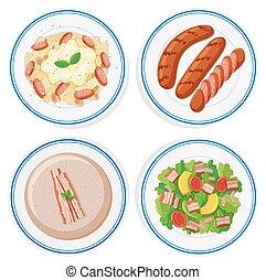 Italian food on round plates
