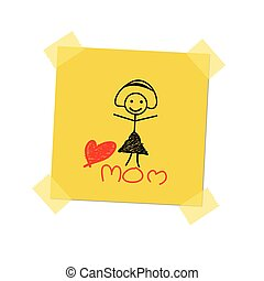 love mom on post it