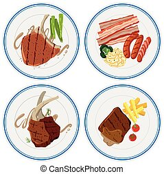 Different grilled meat on plates