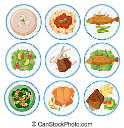 Different types of food on round plates illustration
