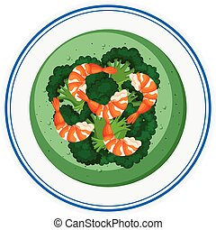 Brocolli soup with shrimps illustration