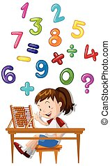 Girl counting numbers with abacus illustration