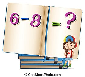 Girl and math problem on subtraction illustration