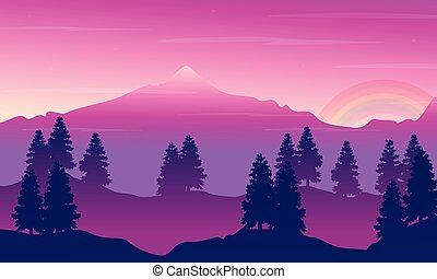 Landscape of mountain with rainbow silhouettes