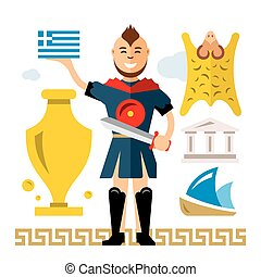 Vector Greece Concept. Flat style colorful Cartoon illustration.