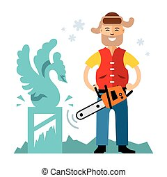 Vector ice carving. Flat style colorful Cartoon...