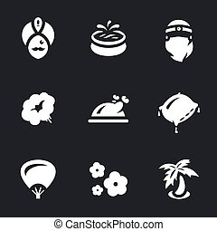 Vector Set of arabic Harem Icons. - Sultan, pool, concubine,...