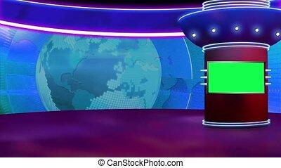 News TV Studio Set 259- Virtual Green Screen Background Loop...