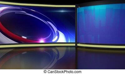 News TV Studio Set 260- Virtual Green Screen Background Loop...