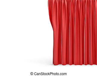 3d rendering of a straight red closed curtain on white background.