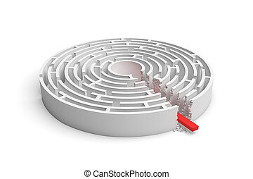 3d rendering of a round maze with a red arrow borrowing to the center isolated on white background