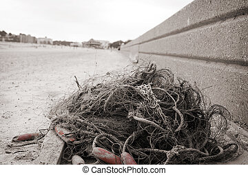old fishing net on a beach