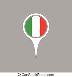 Italy flag location map icon ,  Vector illustration.