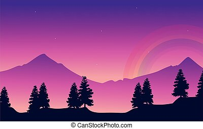 Mountain with rainbow landscape silhouettes style
