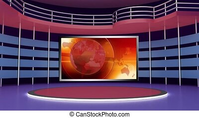 News TV Studio Set 275- Virtual Green Screen Background Loop...