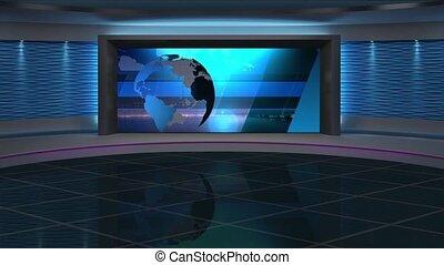 News TV Studio Set 285- Virtual Green Screen Background Loop...