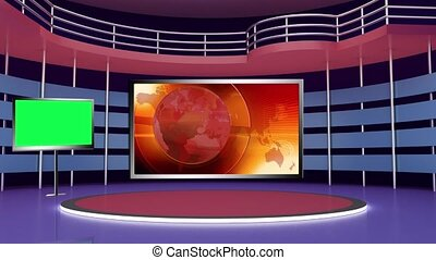 News TV Studio Set 276- Virtual Green Screen Background Loop...