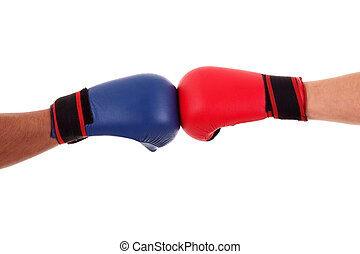 Two boxers touch gloves ready to start fight, isolated on...