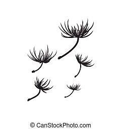 Vector dandelion seeds blown in the wind