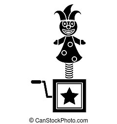april fools jack in the box pictogram vector illustration...
