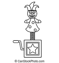 april fools jack in the box thin line vector illustration...