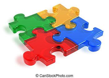 Color puzzle pieces