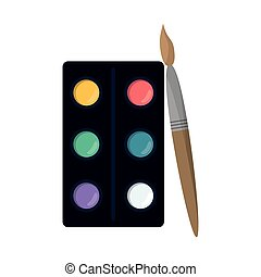 watercolors palette brush paint vector illustration eps 10