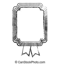 monochrome sketch of rectangular frame with two ribbons