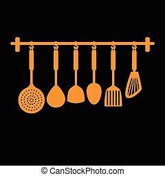 spade of frying pan , vector