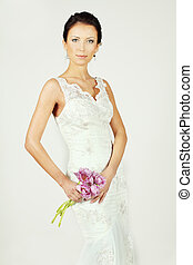 Beautiful bride in white gown