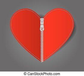 Vector Heart sealed white zipper
