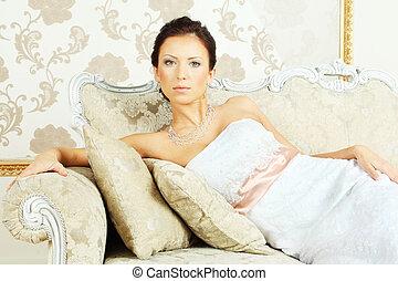 Romantic beauty portrait - young fashion model
