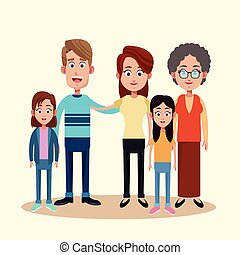 family with grandmother image vector illustration eps 10