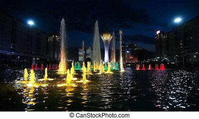 Light flower fountain - Light fountain in the Astana,...