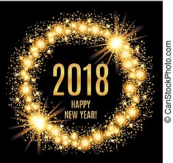 2018 Happy New Year glowing gold background. Vector...