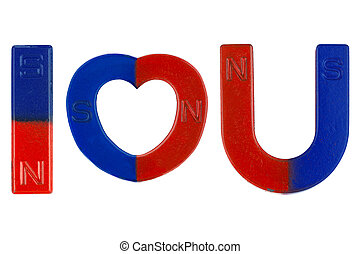 Magnets in red blue with word I Love You ( letter alphabet I...