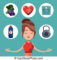 woman meditation exercise healthy icons