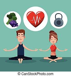 couple yoga exercise food healthy