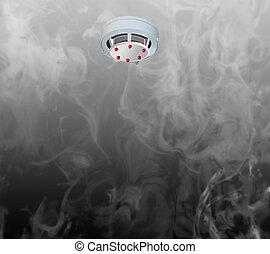 Smoke detector on the ceiling and smoke. - Smoke detector on...