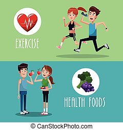 brochure exercise food healthy vector illustration eps 10