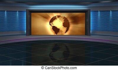 News TV Studio Set 266- Virtual Green Screen Background Loop...