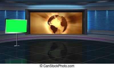 News TV Studio Set 267- Virtual Green Screen Background Loop...
