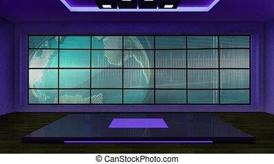 News TV Studio Set 263- Virtual Green Screen Background Loop...