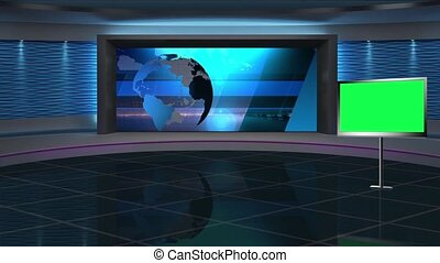 News TV Studio Set 286- Virtual Green Screen Background Loop...