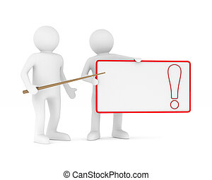 billboard with exclamation point on white background....