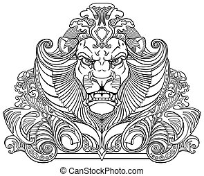 head of lion black white