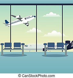 waiting room airport plane vector illustration eps 10