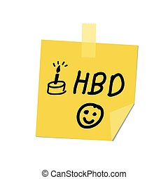happy birthday on post it
