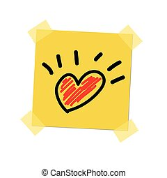 Heart paint on post it