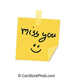 miss you on post it